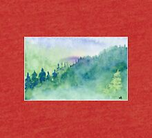 Green mist forest - Watercolor Painting Tri-blend T-Shirt