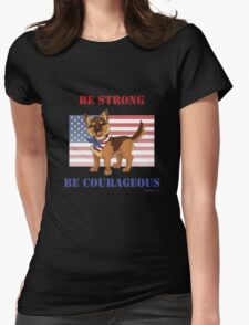 Patriotic German Shepherd Puppy Womens Fitted T-Shirt