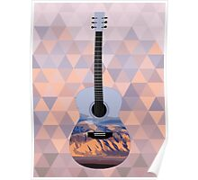 Desert Mountain Sunset Guitar Poster
