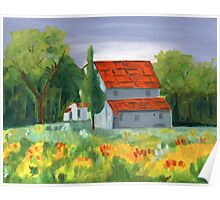 Country House - Oil On Canvas Painting Poster