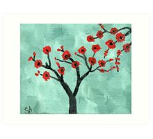 Abstract Red And Green Tree - Oil On Canvas Art Print