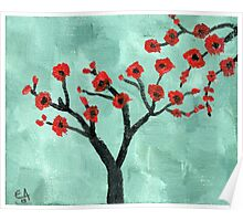 Abstract Red And Green Tree - Oil On Canvas Poster