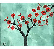 Abstract Red And Green Tree - Oil On Canvas Photographic Print