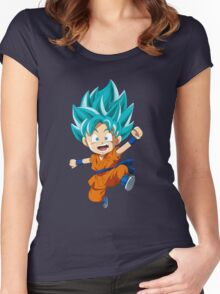 Super Saiyan Blue Chibi Goku Women's Fitted Scoop T-Shirt