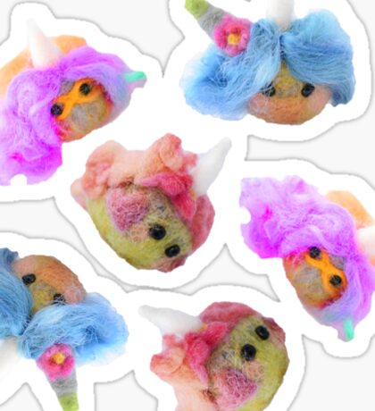 Cornling Needle Felted Creatures, Superhero, Gnome and Love Sticker