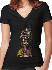 Basquiat African Skull Man Women's Fitted V-Neck T-Shirt