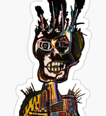 Basquiat African Skull Man Sticker