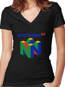 nintendo 64 old retro Women's Fitted V-Neck T-Shirt