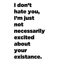 I Don't Hate You, I'm Just Not Necessarily Excited About Your Existance Photographic Print
