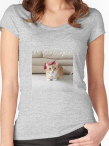 Cute cat with a bow Women's Fitted Scoop T-Shirt