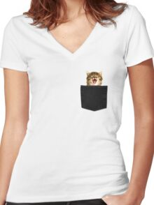 Kitty  Women's Fitted V-Neck T-Shirt