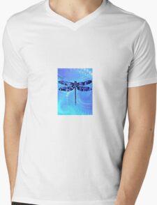 Blue Dragonly Mens V-Neck T-Shirt