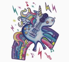 Left Handed Electric Guitar Unicorn & Rainbow - Heavy Metal Black One Piece - Long Sleeve