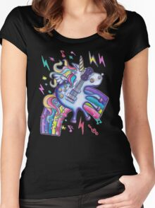 Left Handed Electric Guitar Unicorn & Rainbow - Heavy Metal Black Women's Fitted Scoop T-Shirt
