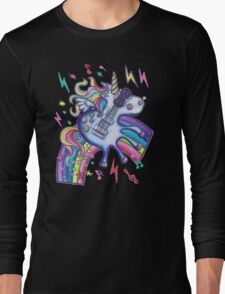 Left Handed Electric Guitar Unicorn & Rainbow - Heavy Metal Black Long Sleeve T-Shirt