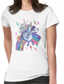 Left Handed Electric Guitar Unicorn & Rainbow - Heavy Metal Black Womens Fitted T-Shirt