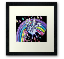 Left Handed Electric Guitar Unicorn & Rainbow - Heavy Metal Black Framed Print