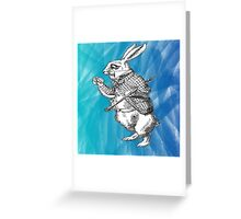 White Rabbit from Alice's Adventures in Wonderland in Blue Watercolor Background Greeting Card