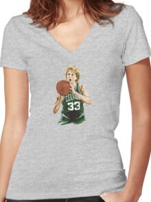larry__legend__bird_ Women's Fitted V-Neck T-Shirt