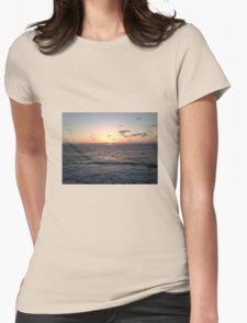 San Diego, California beach sunset with waves Womens Fitted T-Shirt