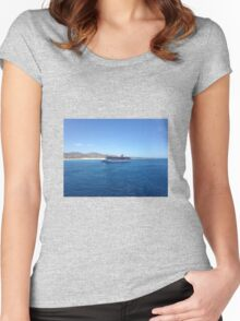 Carnival cruise ship on the ocean Women's Fitted Scoop T-Shirt
