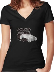 Rykers Hot Rod Garage Women's Fitted V-Neck T-Shirt