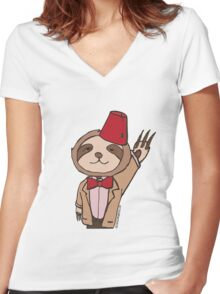 The Eleventh Sloth Women's Fitted V-Neck T-Shirt