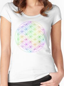 Flower of Life - White Rainbow Women's Fitted Scoop T-Shirt
