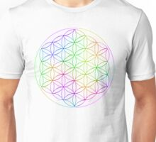 Flower of Life - White Rainbow Unisex T-Shirt