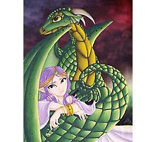Elf Girl and Dragon Photographic Print