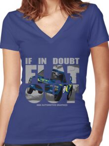 Collin McRae Tribute Flat Out Women's Fitted V-Neck T-Shirt