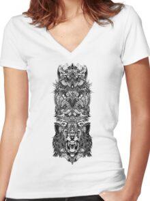 Animal Totem Women's Fitted V-Neck T-Shirt