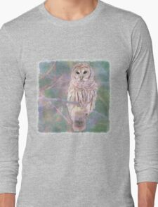 Barred Owl Pastel Oil Painting Long Sleeve T-Shirt