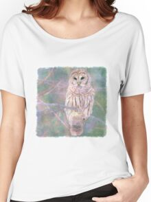 Barred Owl Pastel Oil Painting Women's Relaxed Fit T-Shirt