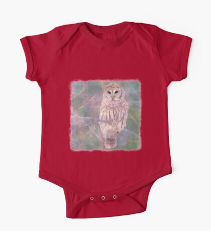 Barred Owl Pastel Oil Painting One Piece - Short Sleeve