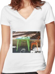 Green and Orange Women's Fitted V-Neck T-Shirt