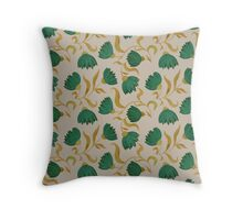 pattern with green flowers Throw Pillow