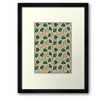 pattern with green flowers Framed Print