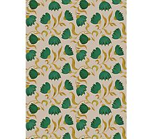 pattern with green flowers Photographic Print