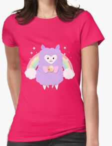 Sparkly Rainbow Pastel Alpaca Womens Fitted T-Shirt