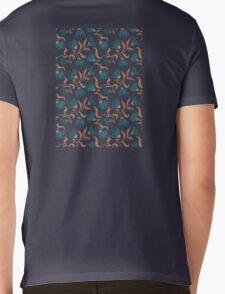 blue flower pattern dark Mens V-Neck T-Shirt