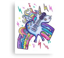 Left Handed Electric Guitar Unicorn & Rainbow - White Noise Canvas Print