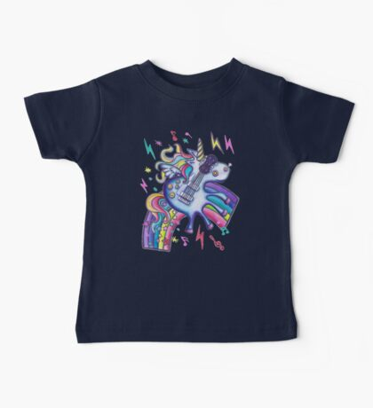 Left Handed Electric Guitar Unicorn & Rainbow - White Noise Baby Tee