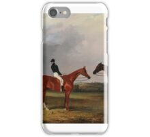 John Dalby , A chestnut and two bay racehorses belonging to John Bowes with jockeys up iPhone Case/Skin