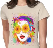 Girl Summer Flowers Eyes Womens Fitted T-Shirt