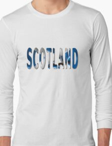 Scotland Word With Flag Texture Long Sleeve T-Shirt