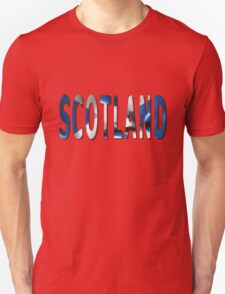 Scotland Word With Flag Texture T-Shirt