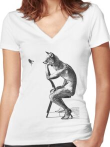 The Fox & Sparrow  Women's Fitted V-Neck T-Shirt