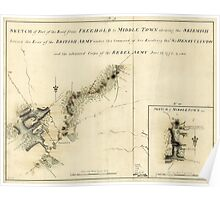 American Revolutionary War Era Maps 1750-1786 875 Sketch of part of the road from Freehold to Middle Town shewing the skirmish between the rear of the British Poster