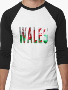 Wales Word With Flag Texture Men's Baseball ¾ T-Shirt